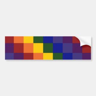 Checkered Rainbow Bumper Sticker