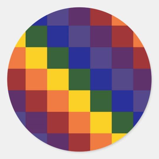 Checkered Rainbow Classic Round Sticker