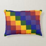 Checkered Rainbow Decorative Pillow