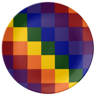 Checkered Rainbow Dinner Plate