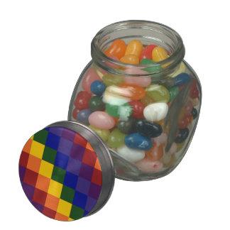 Checkered Rainbow Glass Jar