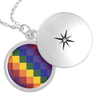 Checkered Rainbow Locket Necklace