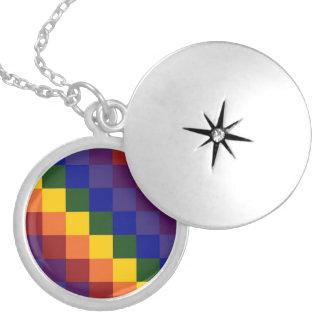 Checkered Rainbow Locket Necklace