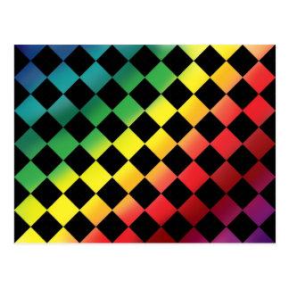 Checkered Rainbow Love Postcard