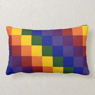 Checkered Rainbow Lumbar Pillow
