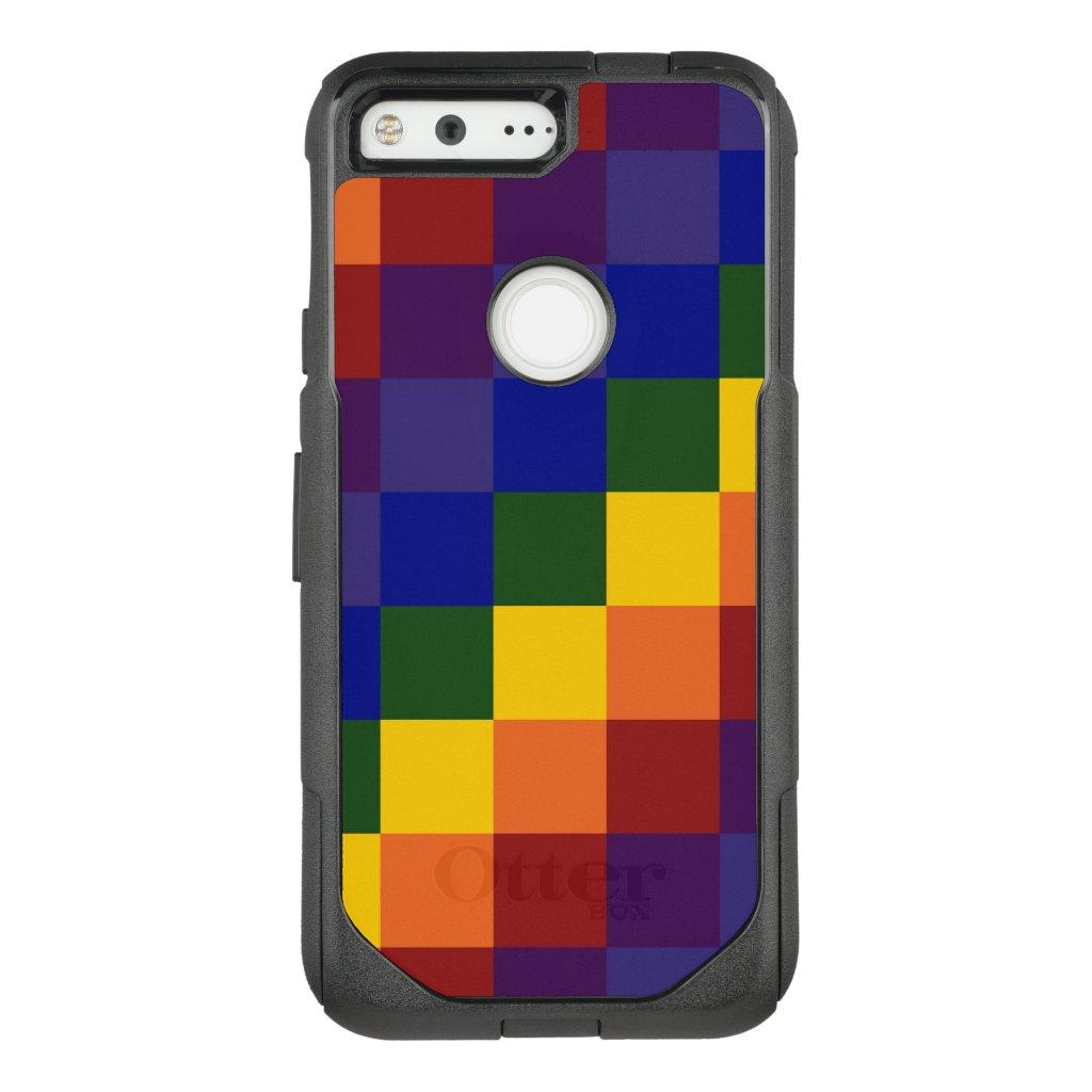 Checkered Rainbow Pattern OtterBox Commuter Google Pixel Case