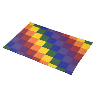 Checkered Rainbow Place Mat