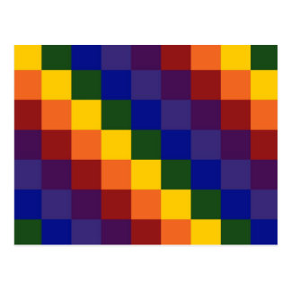 Checkered Rainbow Postcard