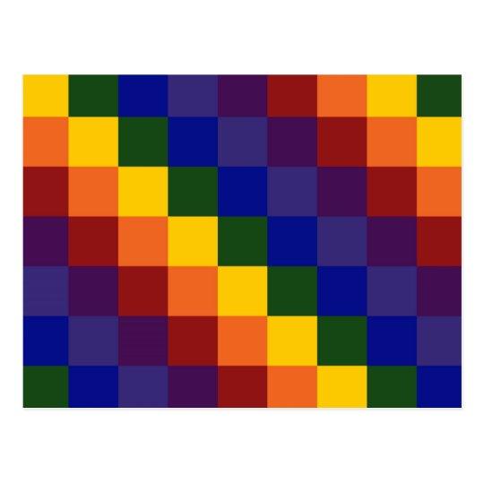 Checkered Rainbow Postcard
