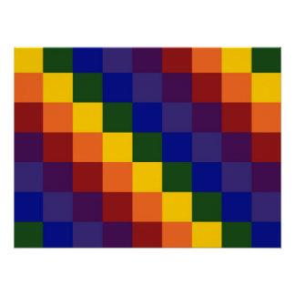 Checkered Rainbow Poster