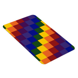 Checkered Rainbow Rectangle Magnets
