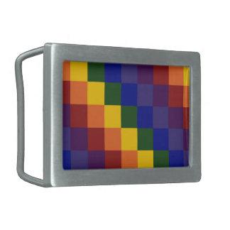 Checkered Rainbow Rectangular Belt Buckle