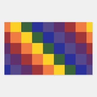 Checkered Rainbow Rectangular Sticker