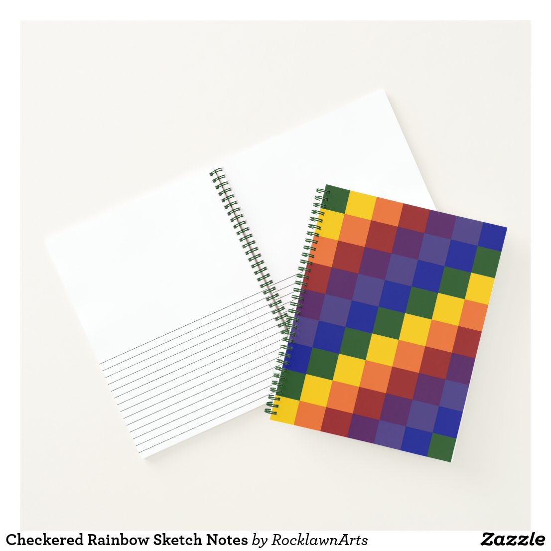 Checkered Rainbow Sketch Notes Notebook