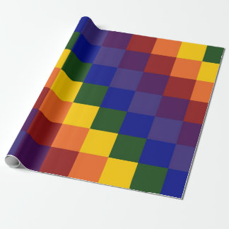 Checkered Rainbow wrapping paper