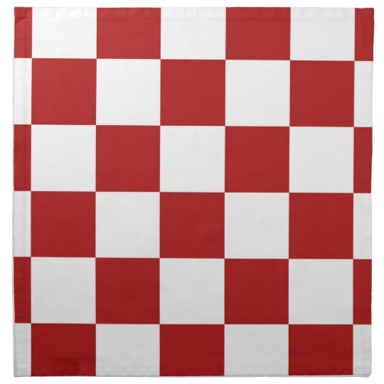 Checkered Red and White Cloth Napkin