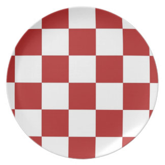 Checkered Red and White Dinner Plate
