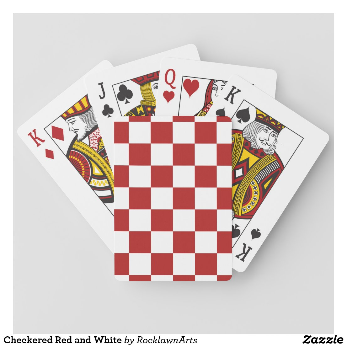 Checkered Red and White Playing Cards