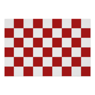 Checkered Red and White Poster