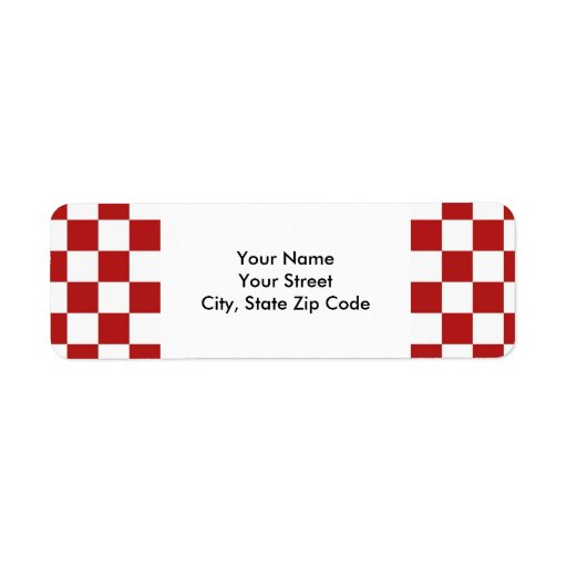 Checkered Red and White return address label