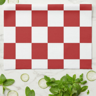 Checkered Red and White Towel