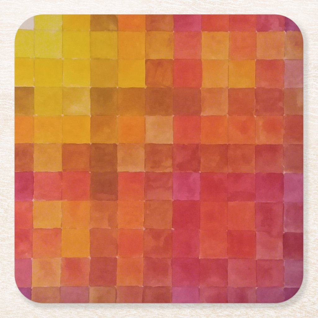 Checkered Red and Yellow Paper Coasters