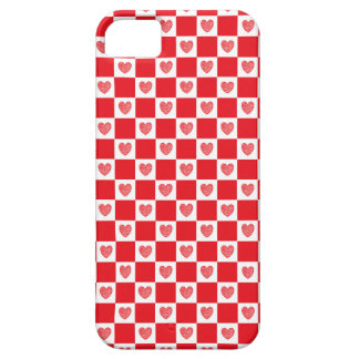 Checkered Red Hearts iPhone SE/5/5s Case