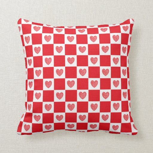 Red Heart Decorative Pillow : Checkered Red Hearts Throw Pillow Zazzle