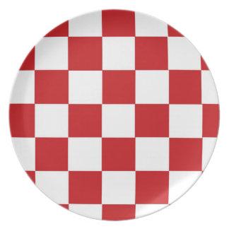 Checkered Red Melamine Plate