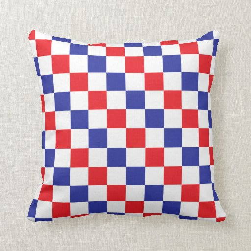 Blue Red Throw Pillow : Checkered Red, White and Blue Throw Pillow Zazzle