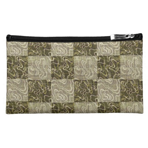 Checkered Ripple Medium Sueded Cosmetic Bag