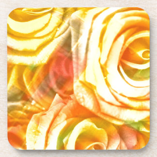 checkered roses yellow coaster