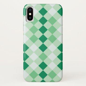 Checkered Shamrock Green Pattern iPhone XS Case