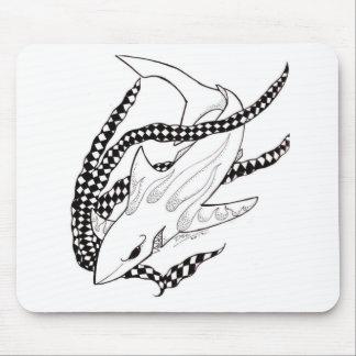 checkered shark mouse pad