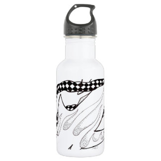 checkered shark stainless steel water bottle