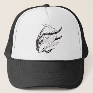 checkered shark trucker hat