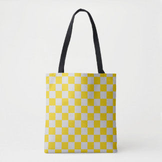 Checkered Silver and Gold Tote Bag