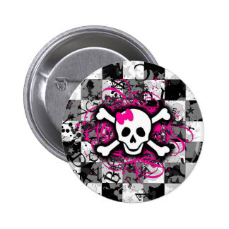 Checkered Skull With Hot Pink Splatter Button