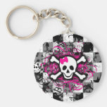 Checkered Skull With Hot Pink Splatter Key Chain