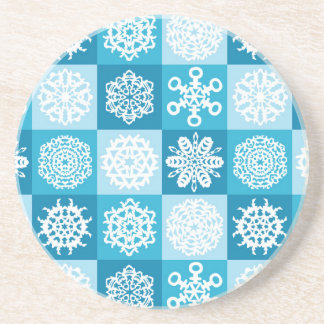 Checkered Snowflakes Coasters