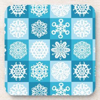 Checkered Snowflakes Drink Coaster