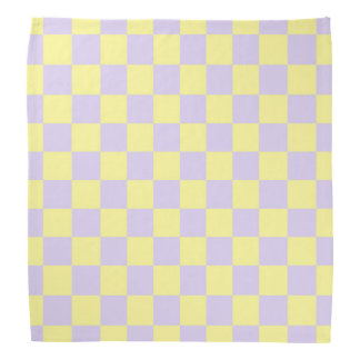 Checkered Soft Yellow and Purple Bandana