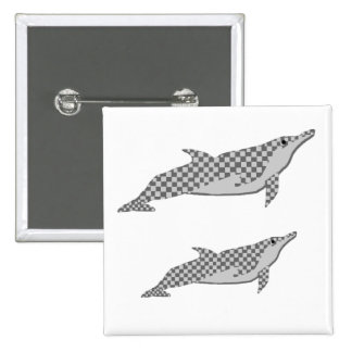 Checkered spinner dolphin tie 2 inch square button