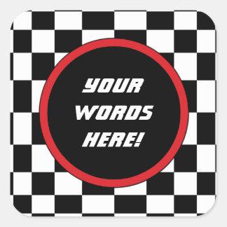 Checkered Square Custom Text Square Sticker