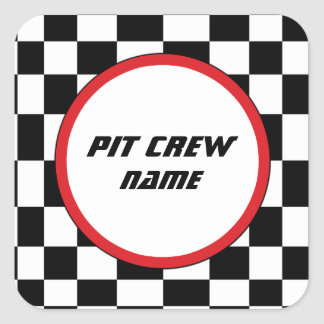 Checkered Square Party Guest Name Stickers