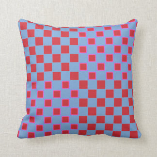 Checkered Squares Blue and Red Neon Pillow