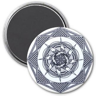 Checkered Star Mandala (black & white) Magnet