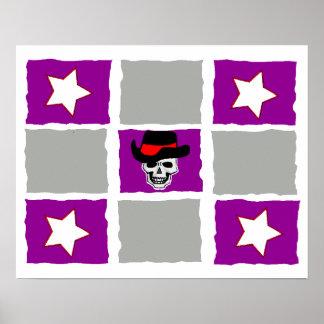 Checkered Stars & Skull Poster