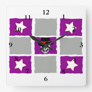 Checkered Stars & Skull Square Wall Clock