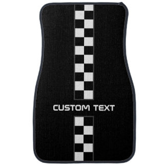 Checkered Stripe Car Floor Mats - with custom text